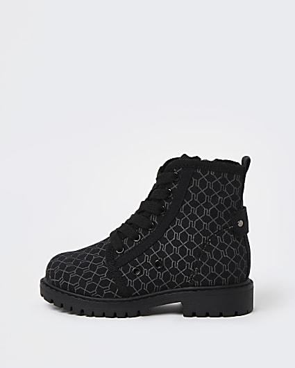 Mini girls black RI monogram lace up boots
