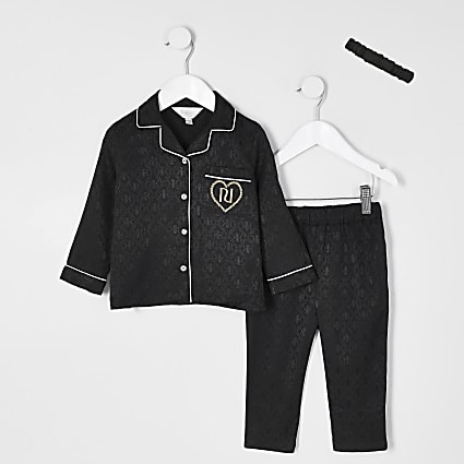 Mini girls black RI monogram pyjama set