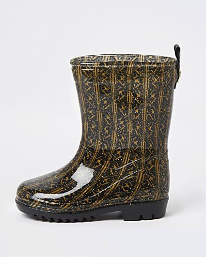 Mini girls black RI monogram wellie boots