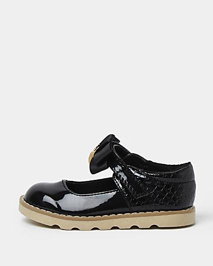 Mini girls black RI patent bow sandal