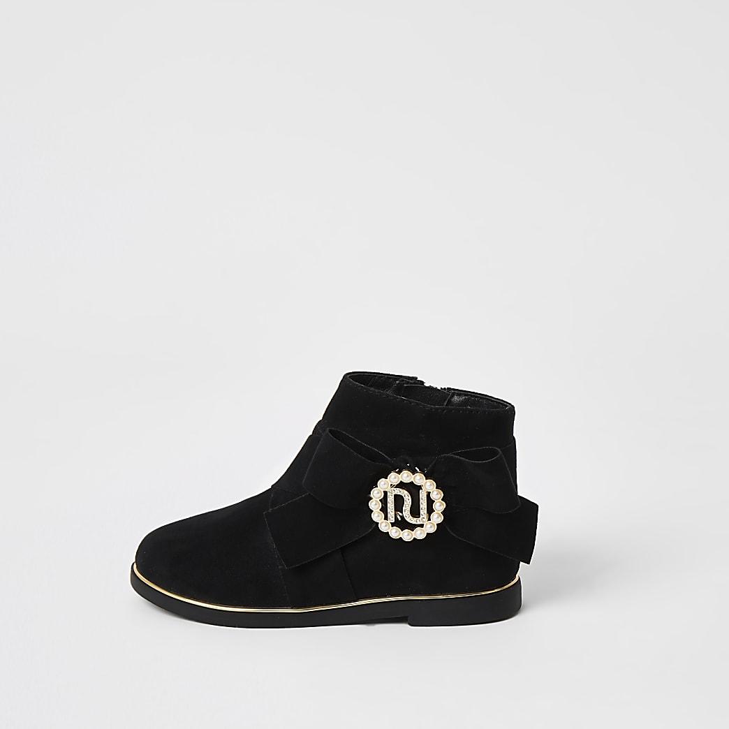 Mini girls black RI pearl bow boots