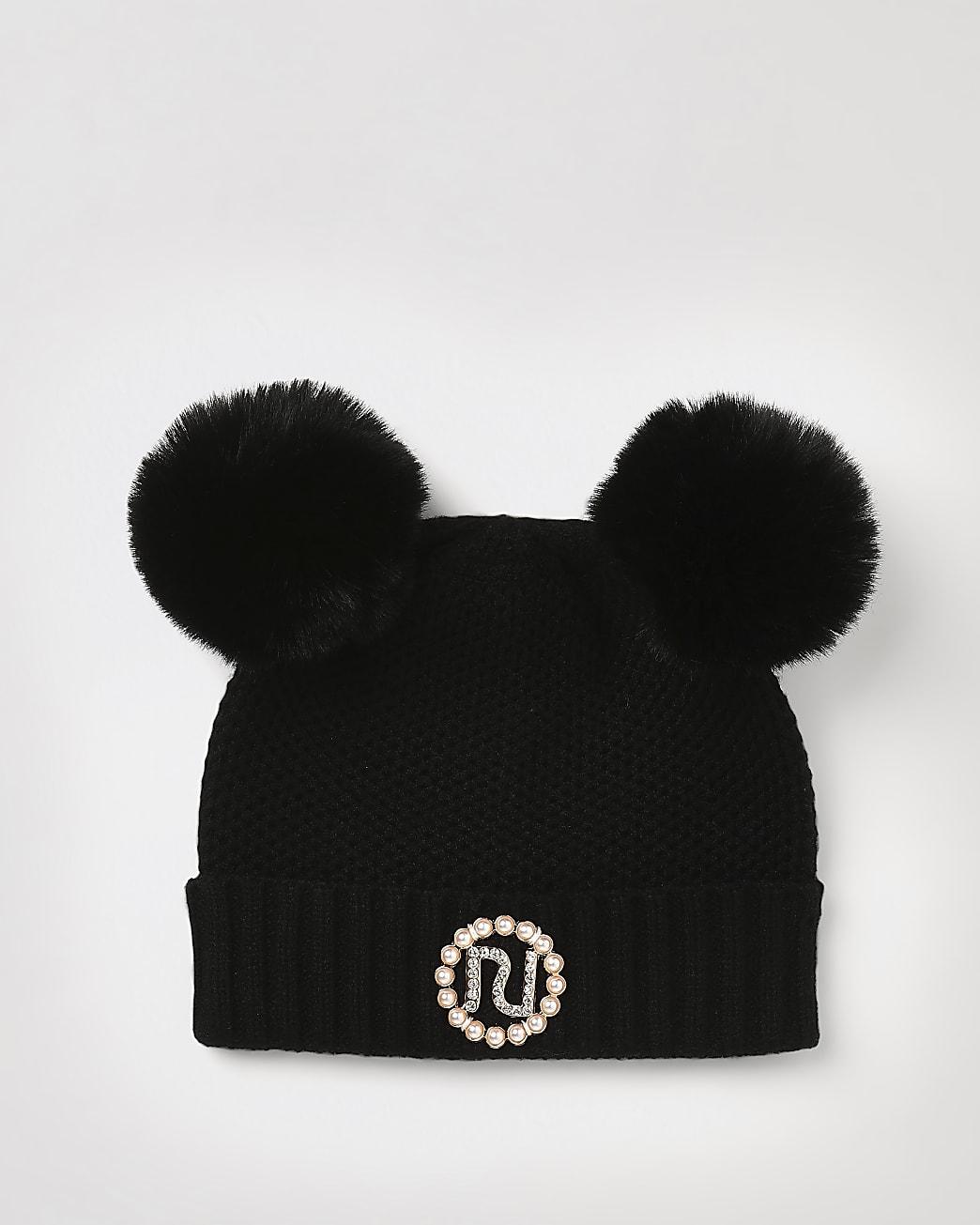 Mini girls black RI pom pom pearl beanie hat