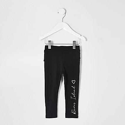 Mini girls black RI print ruffle leggings
