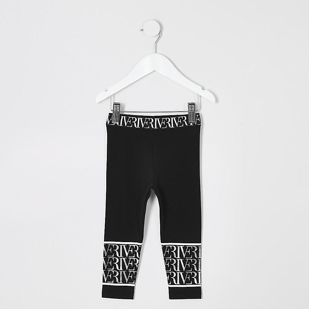 Mini girls black RI printed leggings
