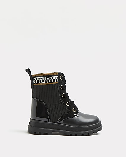 Mini girls black RI ribbed lace up boots