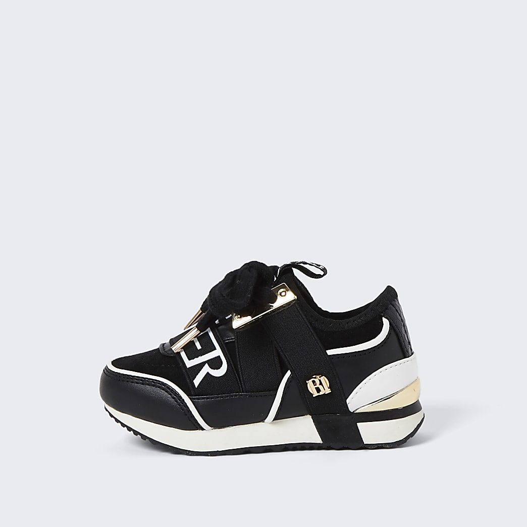Mini girls black RI runner trainers