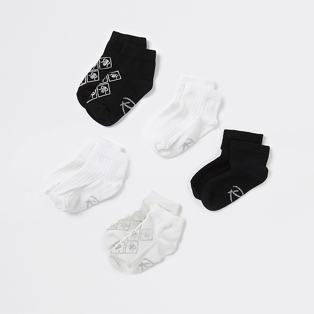 Mini girls black RI socks 5 pack