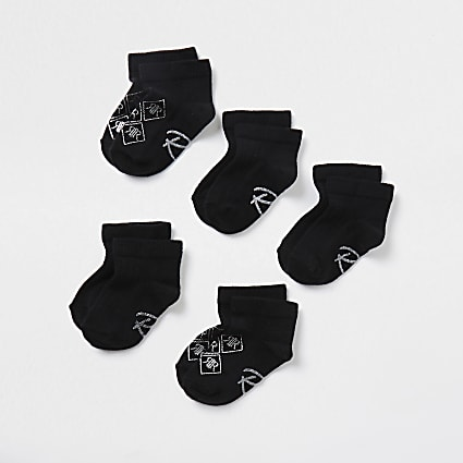 Mini girls black RI trainers socks 5 pack