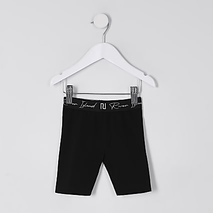 Mini girls black RI waistband cycling short