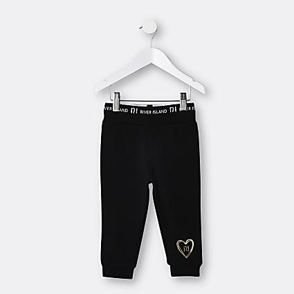 Mini girls black RI waistband joggers