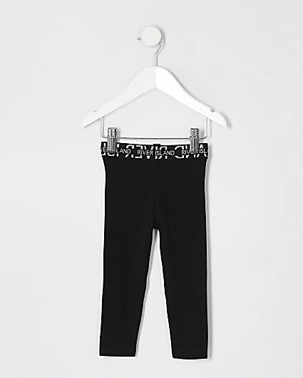 Mini girls black RI waistband legging