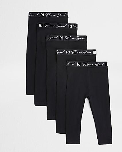 Mini girls black RI waistband leggings 5 pack