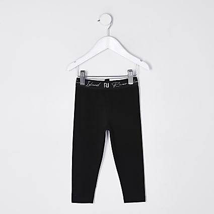 Mini girls black RI waistband leggings