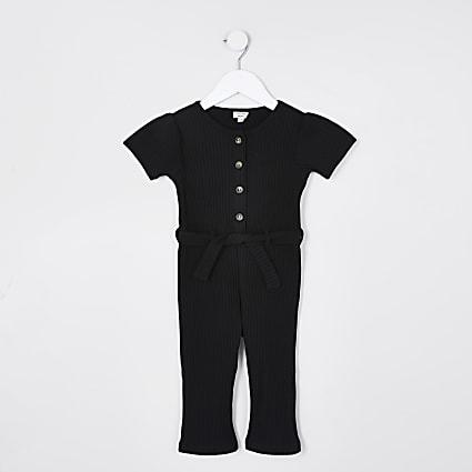 Mini girls black ribbed button jumpsuit