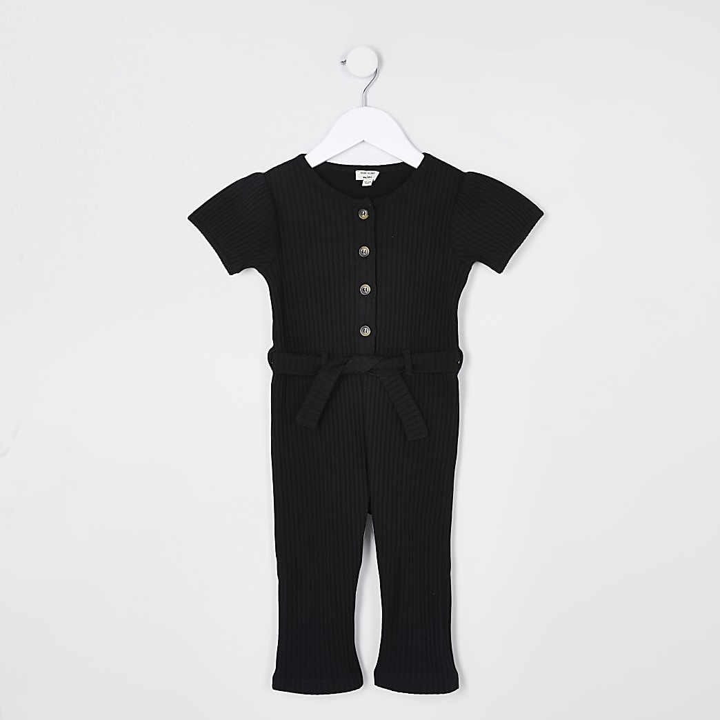 Mini girls black ribbed button jumpsuit