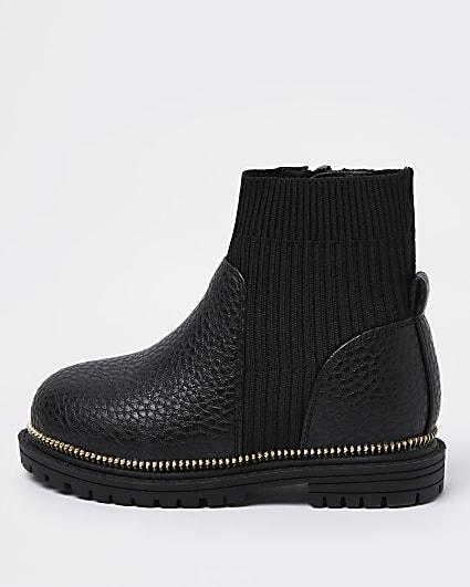 Mini girls black ribbed chunky sock boots