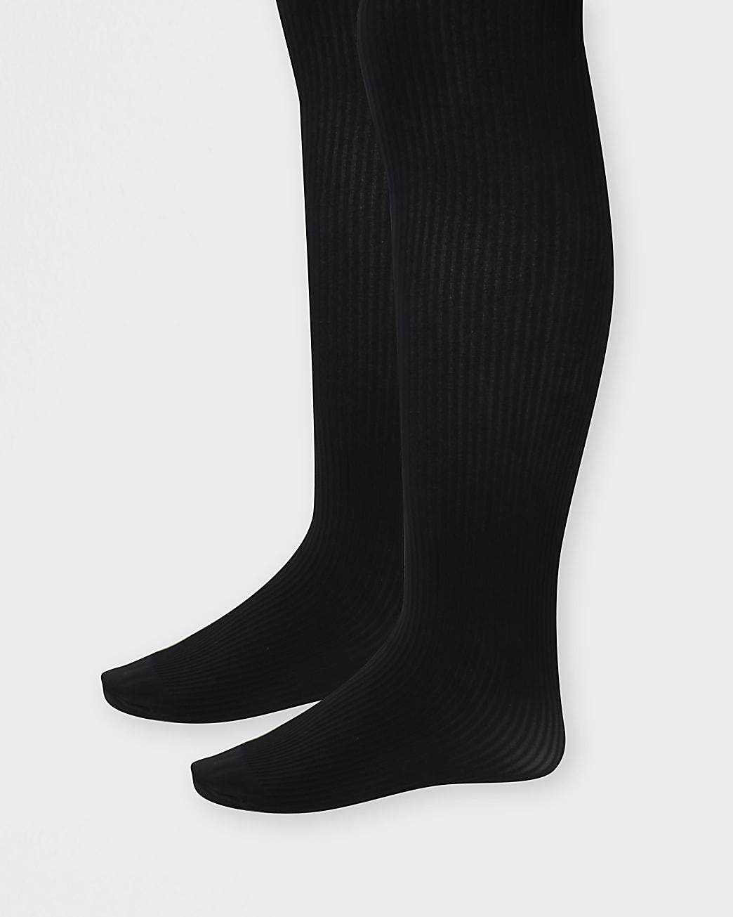 Mini girls black ribbed tights 2 pack