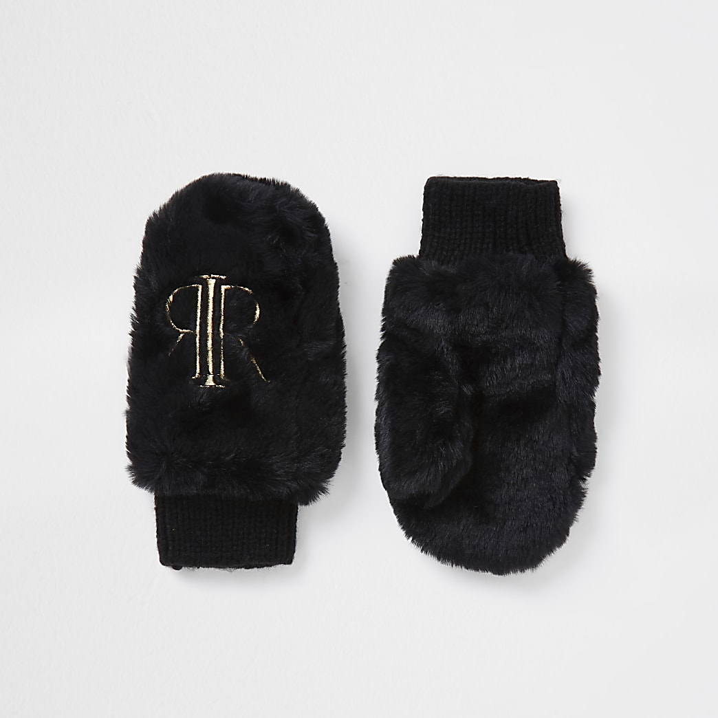 Mini girls black RIR faux fur mittens