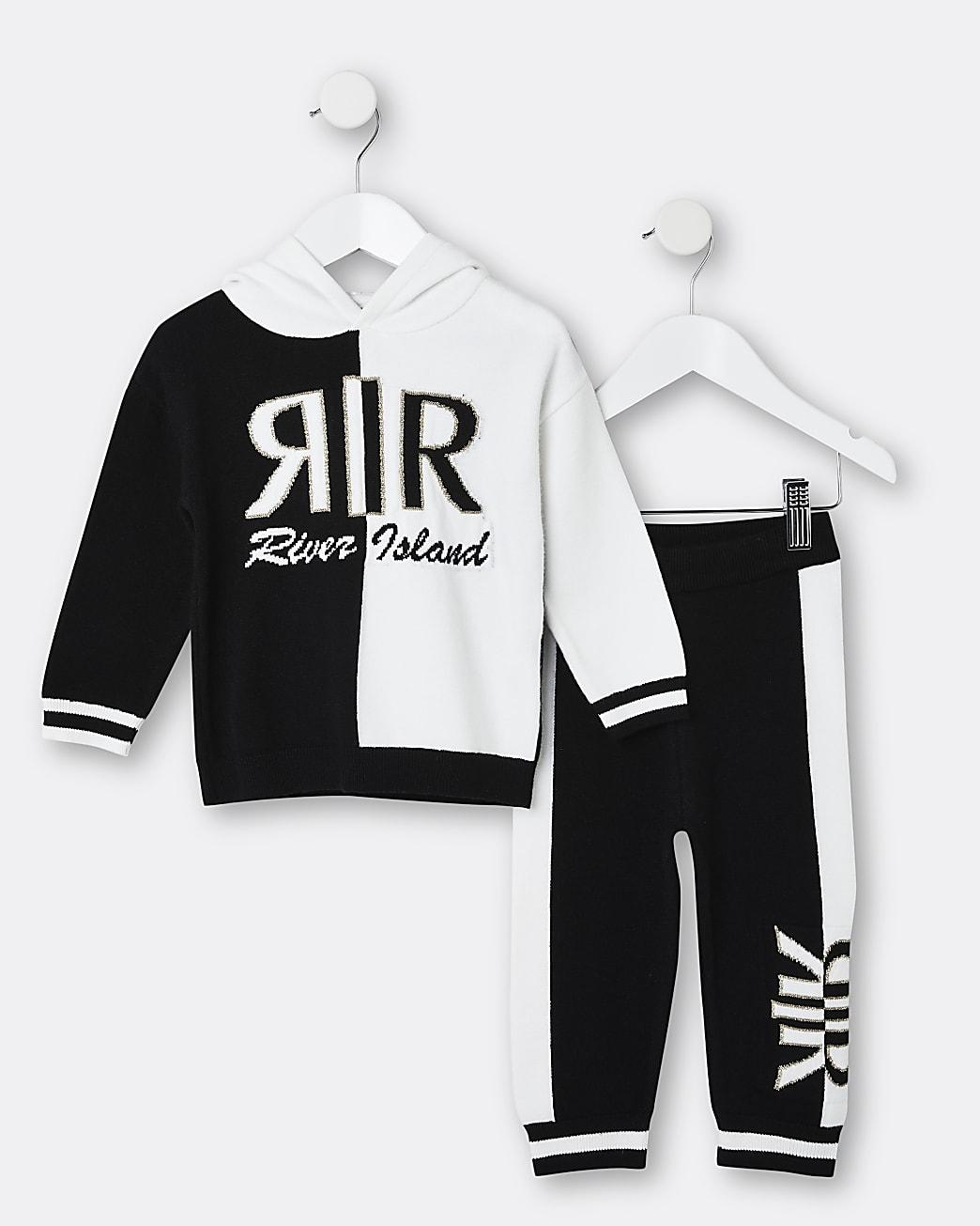 Mini girls black RIR hoodie and jogger set