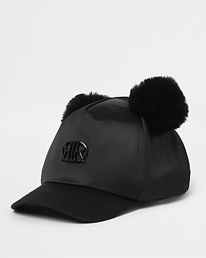 Mini girls black RIR satin pom pom cap