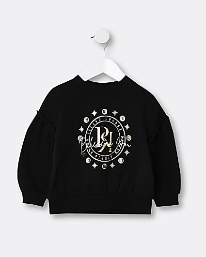 Mini girls black RR print sweatshirt