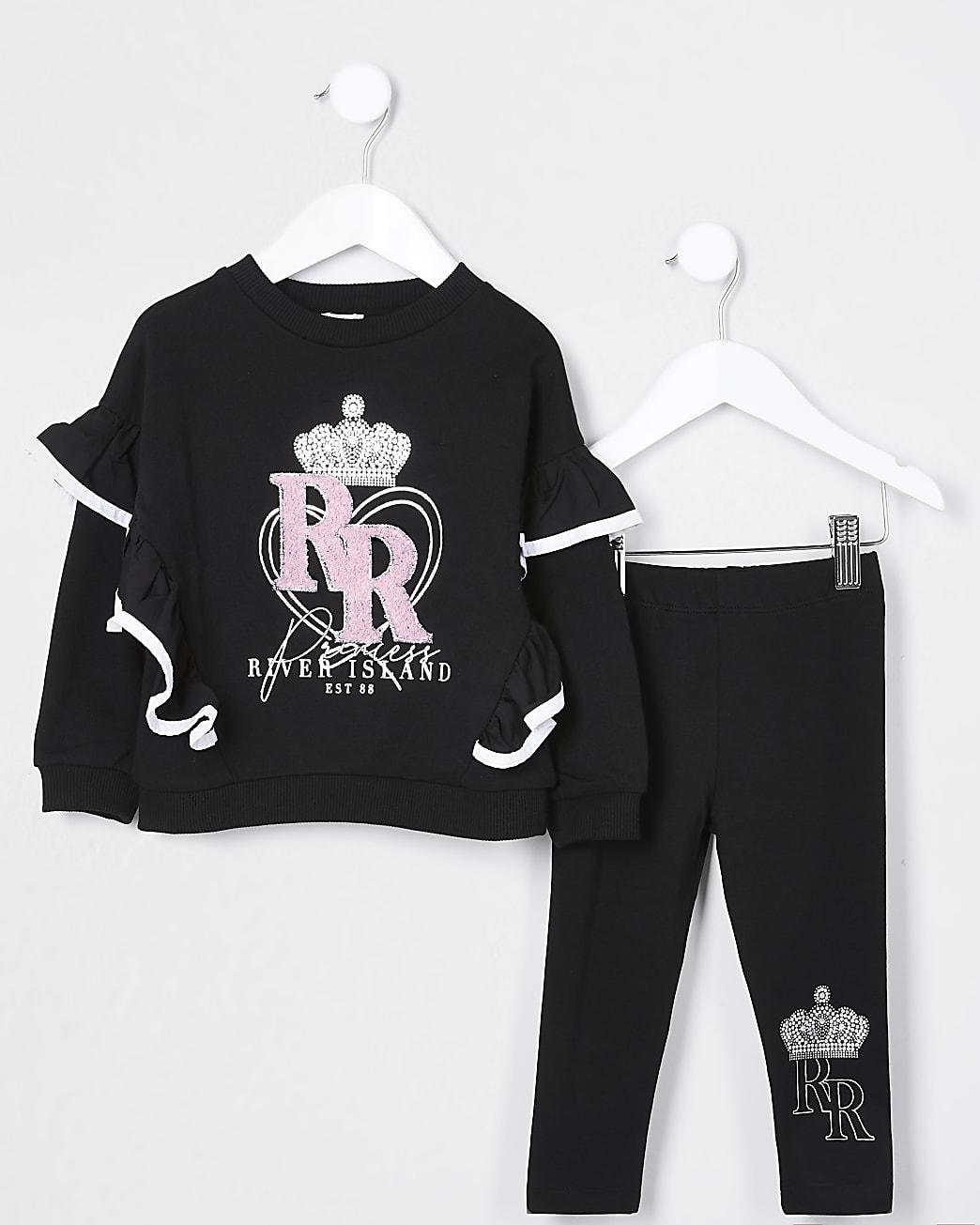 Mini girls black 'RR' sweatshirt set