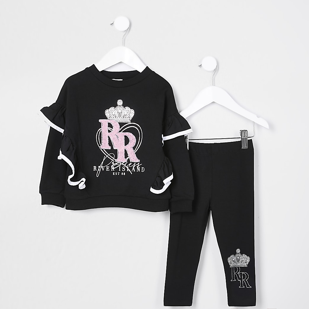 Mini girls black 'RR' sweatshirt set