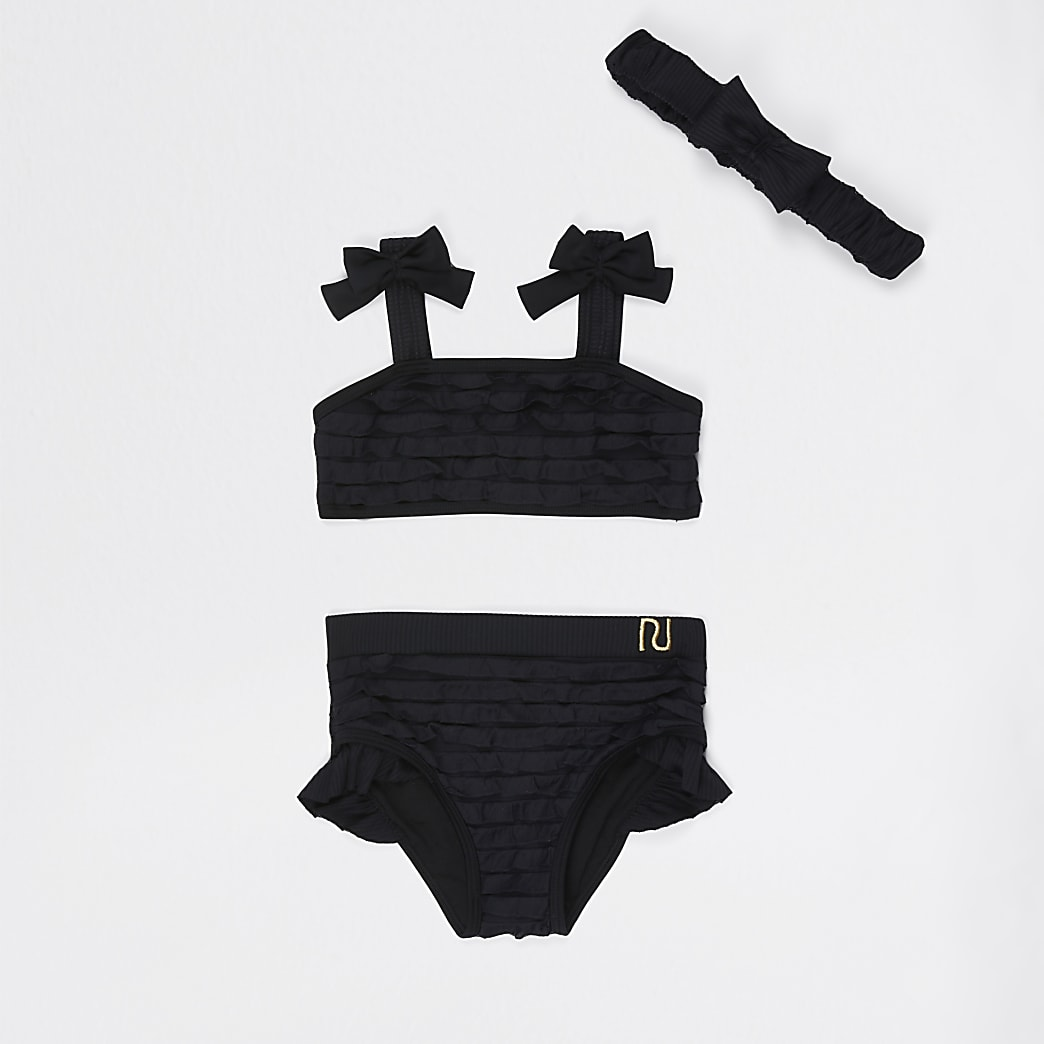 Mini girls black ruffle bikini set