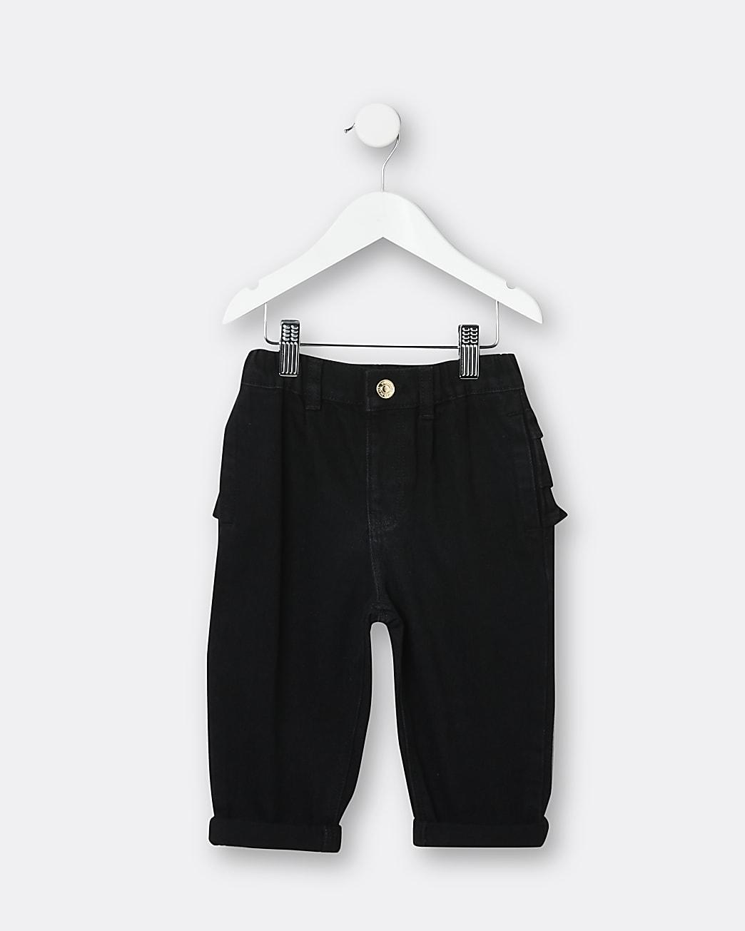 Mini girls black ruffle mom jeans