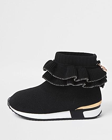 Mini girls black ruffle sock trainer