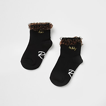 Mini girls black 'Sassy' ankle socks 2 pack