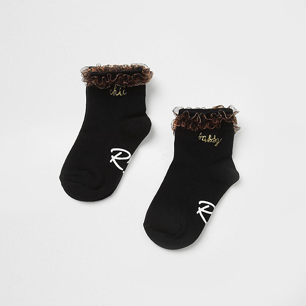 Mini girls black 'Sassy' ankle socks 2 pack