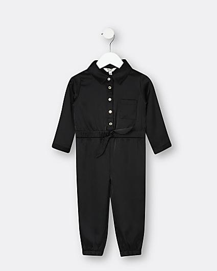 Mini girls black satin jumpsuit