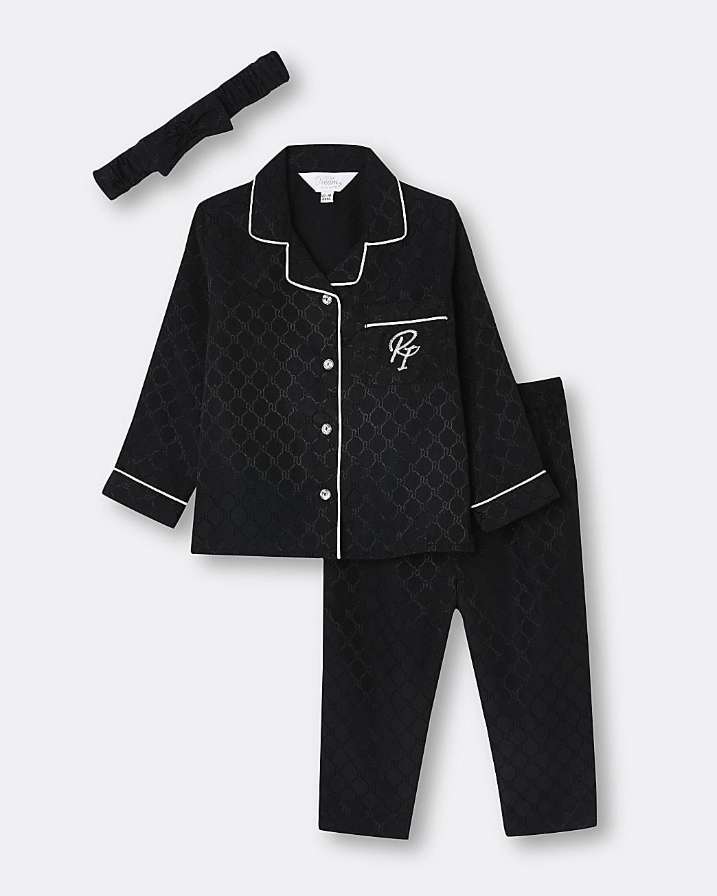 Mini girls black satin RI pyjama 3 piece set