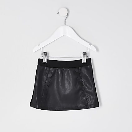 Mini girls black scallop PU mini skirt
