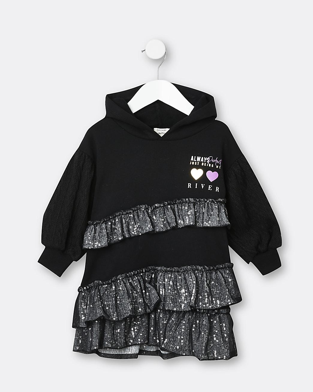 Mini girls black sequin sweater dress