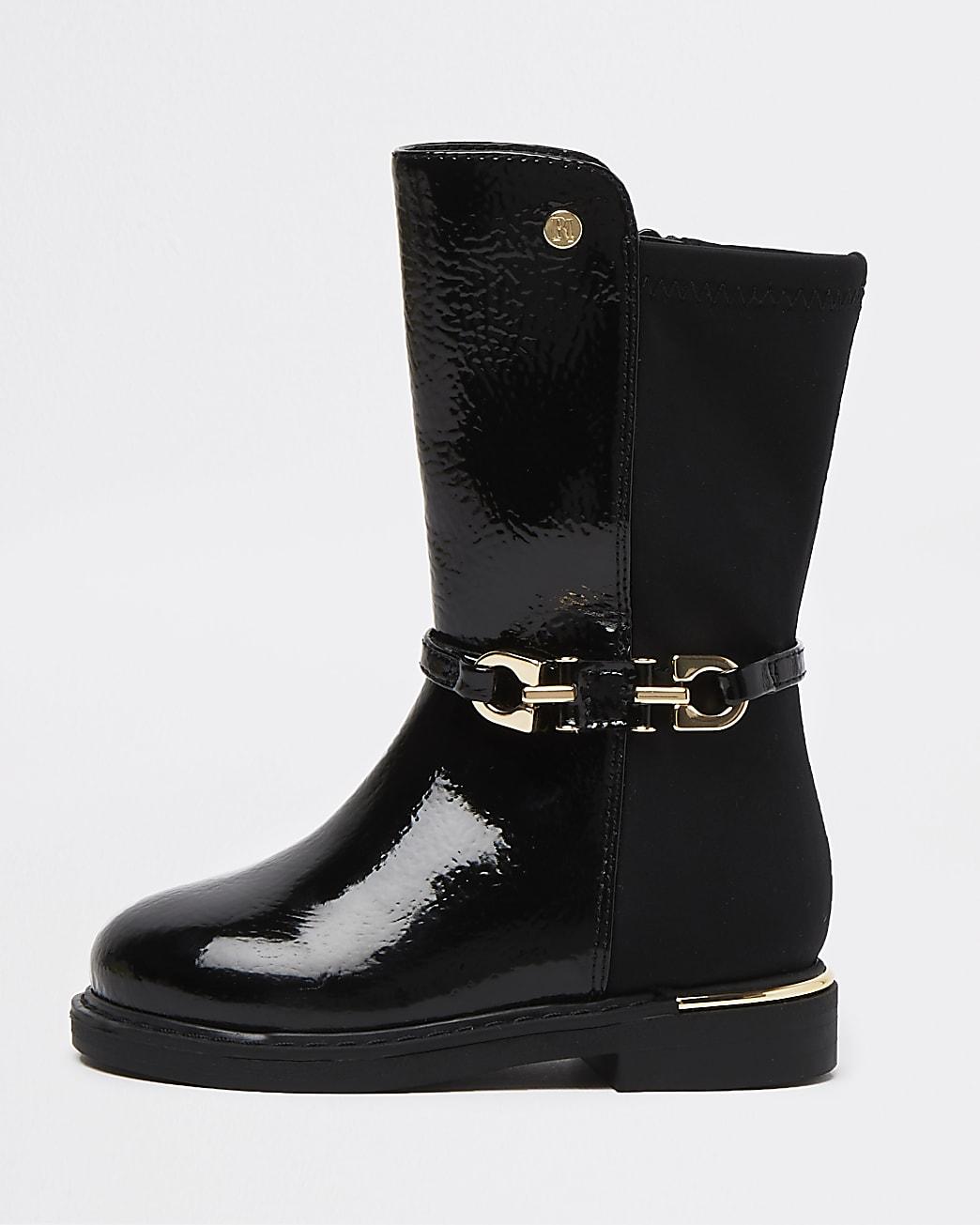 Mini girls black snaffle buckle boots