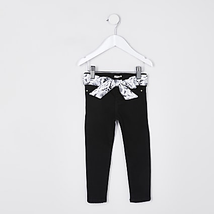 Mini girls black snake belt molly jeans