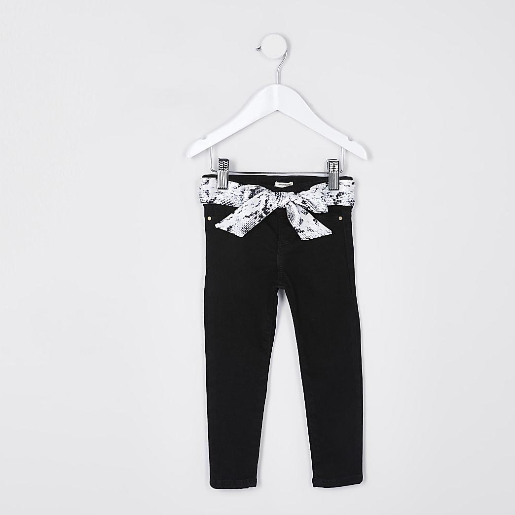Mini girls black snake belt molly jeans