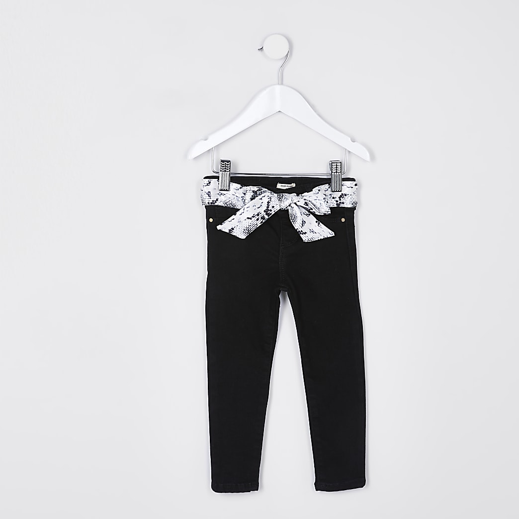 Mini girls black snake belt molly jeggings