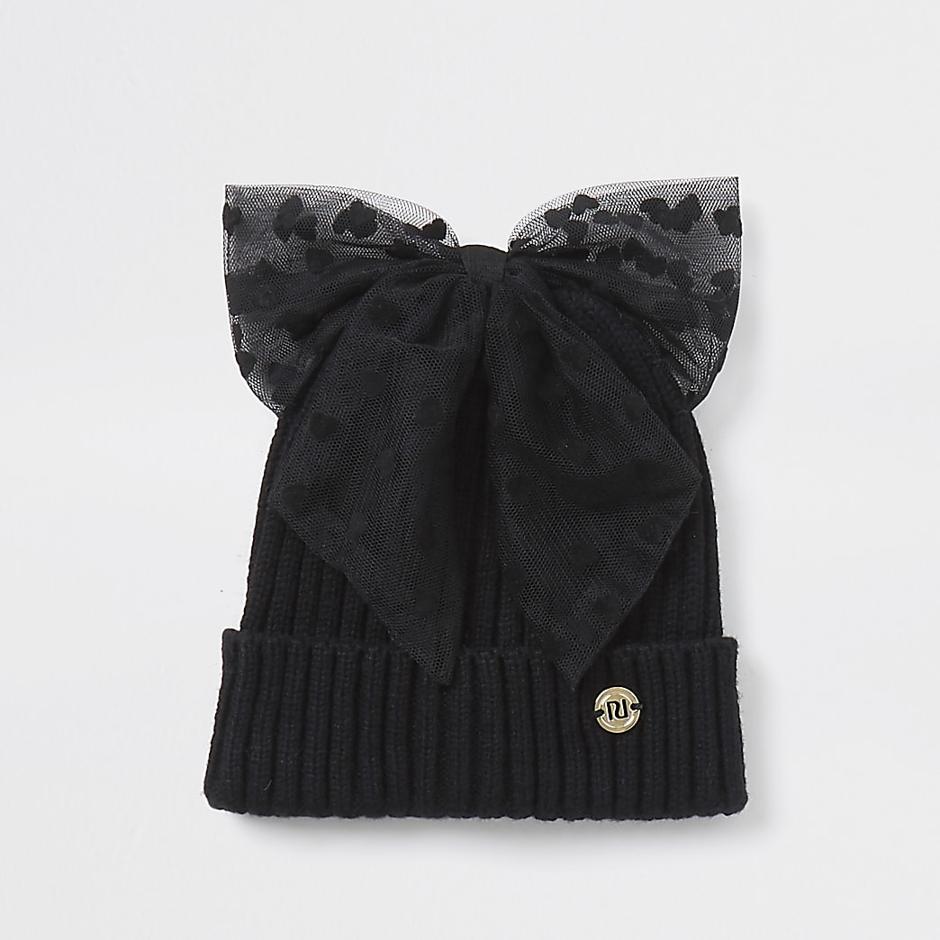 Mini girls black spot mesh bow beanie hat