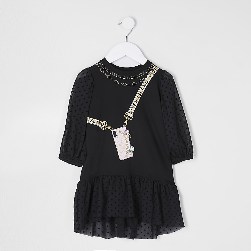 Mini girls black spot mesh dress