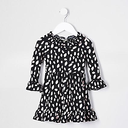 Mini girls black spot print ruffle neck dress