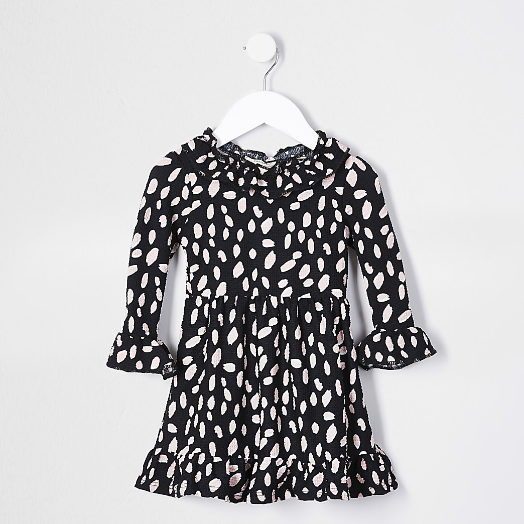 Mini girls black spot print ruffle neck dress