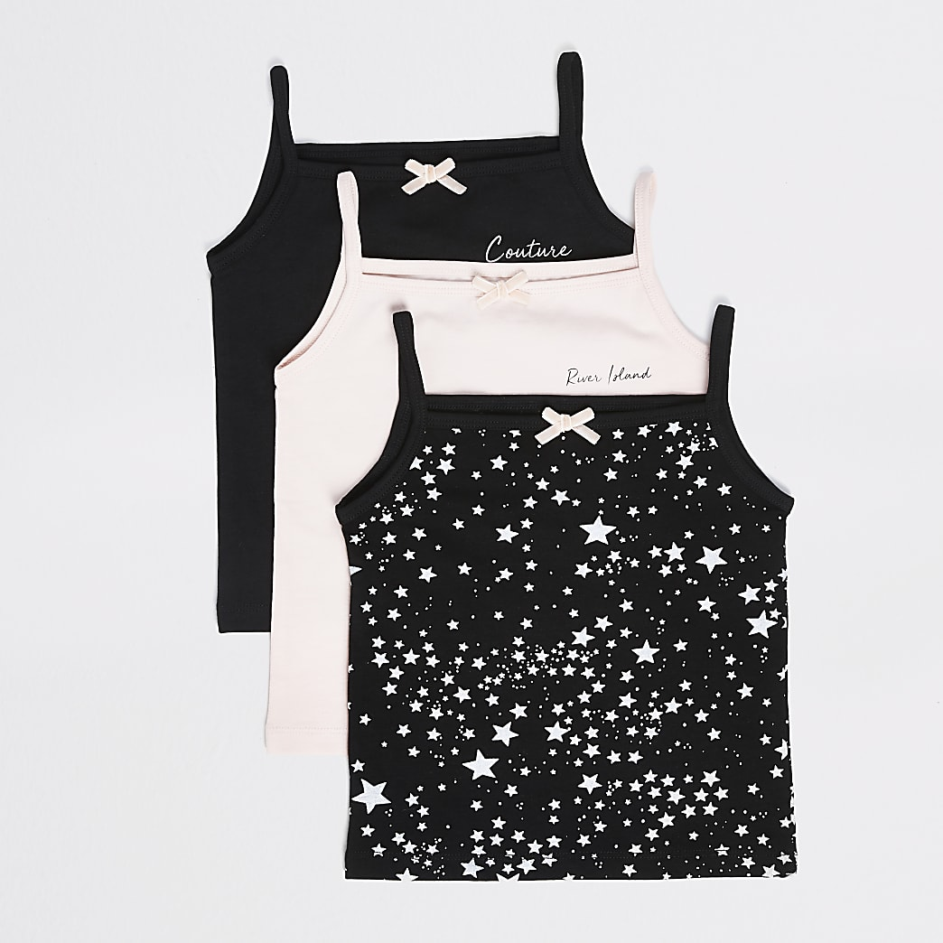 Mini girls black star printed vests 3 pack