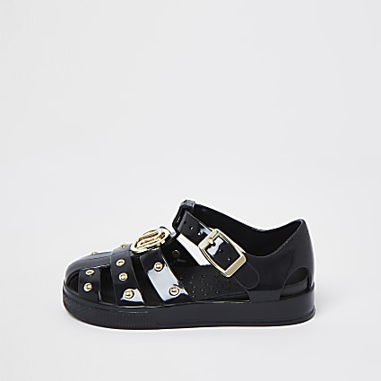 Mini girls black studded caged jelly sandals