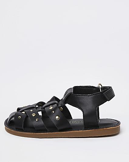 Mini girls black studded caged strap sandals