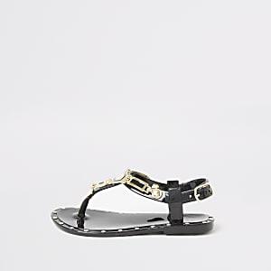 Mini - Zwarte jelly sandalen met studs voor meisjes