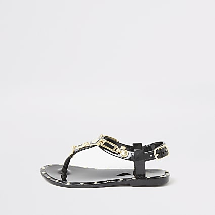 Mini girls black studded jelly sandals
