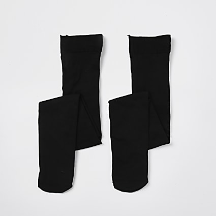 Mini girls black tights 2 pack